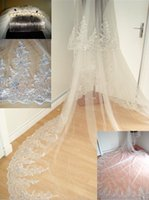 Wholesale Gorgeous Long Wedding Veils Layer Lace Edged Veils Crystals Bridal Accessories Cheap In Stock Veils Christamas