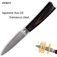 Wholesale ZEMEN damascus pattern inch santoku quot paring knife damascus AUS stainless steel kitchen knives cooking tools knife gift
