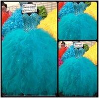 venda por atacado vestidos de debutantes-Vestidos de 15 anos azul vestido de baile Ragazza Vestidos Quinceanera 2016 Masquerade Ball Dress doce 16 Dresses Debutante Vestidos