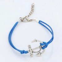 antique anchor light - Hot Sell antique silver Alloy Anchors Charms Light Blue color Wax rope Adjustable Bracelets