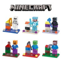 Wholesale 6PCS Minecraft Steve Zombie Skeleton Enderman Building Block Toys Assembly Toy Compatible Action Toy Figures For Gift