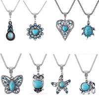 turtle pendant - Bohemian Vintage Silver Crystal Owl Inlay Eyes Cute Turtle Love Butterfly Starfish Turquoise Pendant Chain Necklace N1872 N1880