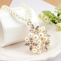 Cheap Korean jewelry 2014 new necklace flower pearl necklace innovative items fashion jewelry bead necklace 0384