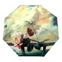 Wholesale Rose Painting Umbrella Romantic Folding Classic Anti uv Sun Rain Durable Automatic UmbrellaTY177