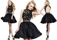 Reference Images Satin Crew Charming 2015 Mini Homecoming Dresses Beads Backless Lace Corset High Neck Crystal Black Satin A-line Sexy Short Cocktail Prom Party GownWJ