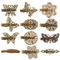 Wholesale 2015 New Metal Assorted Vintage Hair Clips Hairpins Butterfly Dragonfly Flower Feather Fashion Accessory For Women