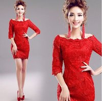 angels siding - New Arrival Hot Sale Fashion Elegant Luxury Princess Angel Red Lace Sequins Noble Long Sleeve Custom Toast Cocktail Dress