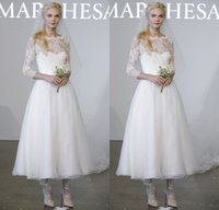 Wholesale New Short A line Lace Wedding Dresses Vintage Tulle Bridal Gowns Sheer Neck Long Sleeves Ankle Length Beach Wedding Dresses