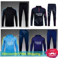 Boys football training - Top quality Training suit Men barcelonaees sport wear Training Soccer suit Neymar Messi Soccer sets football Jacket pants