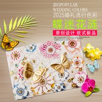 embossed wedding invitations - 2015 Spring Butterfly elegant Wedding Invitations Cards Map Print Embossed Wedding Invitations Sets Butterfly Invitations