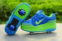 adult roller shoes - 2016 Hot Two Wheel Children and adult Flying Shoes Boys and girls Child Roller Shoes Fashion with Pulley Kids Sneakers Size29