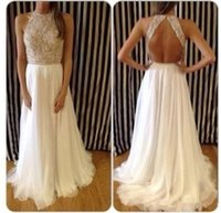 Wholesale 2015 New Ivory Cheap Sexy Shiny Summer Lace Evening Split Gowns High Neck Crystals Beaded Halter Chiffon Backless Long Prom Formal Dresses