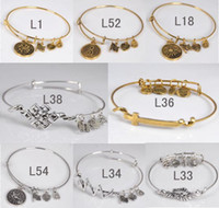 brass wire - 8PCS Gold Plate antique silver Mix color Initial Letters Wiring Bracelet for Beading or Charms Alex and Ani style expandable bangles L81