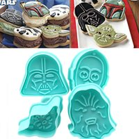 Wholesale 4pcs Star War Cookie Cutter Fondant Sugarcraft Cake Molds Sandwich Biscuit Cupcake Pastry Paste Decoration Tools Mould Cooking Tool Baking