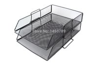 Wholesale Cabinet Desk Organizers - Wholesale-Metal material desk file book document box shelf container filing organizer holder cabinet A4 (2-Tiers)