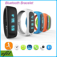 Wholesale DHL E02 Smart Watches Smart Wrist Smartband Waterproof Bluetooth Fitness Tracker Health Bracelet Sports Wristband Gear Fit For Android IOS