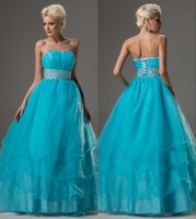 affordable ball gowns - Affordable Blue Long Full Length Strapless Corset Beaded Organza Ball Gown Princess Custom Made Party Prom Gowns PD9455