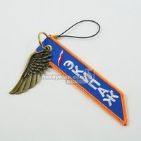 airline wings - Fashion Jewelry Key Chains Russian Airline Mobile Phone Strap Chain with Metal Wing Orange amp Blue Gift for Aviation Lover Flight Crew