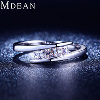 Wholesale MDEAN White gold plated ring AAA Zircon diamond Engagement jewelry Classic Round Wedding rings for women MSR215