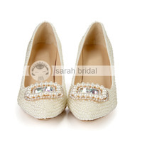 Cheap 2015 Fashion New Wedding Party Prom Lady Shoes Imitation Pearl Rhinestone Crystal heel Dancing Stiletto Heel Pointed Shoes High 8.5 CM