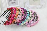 Wholesale 2015 New Designed Wedding Bridal Romantic Boho Bride Bridesmaid Rose Headband Flower Hair Garland Festival Wedding Crown