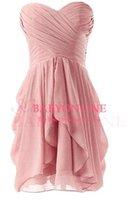 Real imagem Verão Praia curto Mini Chiffon dama de honra Vestidos 2015 Blush querido Vestidos Cocktail Formal Vestidos de Festa Curto Prom Vestidos