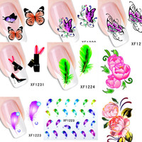 Wholesale Sheets XF1181 XF1240 New Water Transfer Nail Art Stickers Decal Cartoon Flower Feather DIY d Decorative Foils Stamping Tools