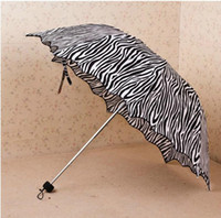 Wholesale HOT Promotion Princess flounced fold arched creative cute zebra Clear UV sunscreen rainbow parasol Umbrella TY1124