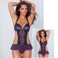 adult lingerie models - Hot Sale Women Purple halter Strapy Camisole Cut Out one piece teddy adult lingerie models lingerie jumpsuit L3146