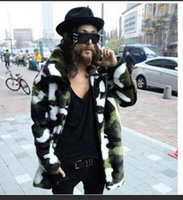 fur coat men - Fall Fashion Men Green Camouflage Faux Fox Fur Winter Warm Jacket Coat Parka punk gothic hip hip mid length military overcoat peacoat