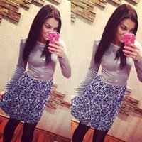 Cheap Women Bandage Dress Grey Blue Print Long Sleeve Patchwork Bodycon Dress Hot Sale Celebrity Casual Dresses