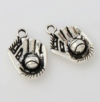 antique baseball glove - mic Antique Silver Baseball Glove Sports Charms Pendants Jewelry DIY L284 x14 mm Jewelry Findings Components