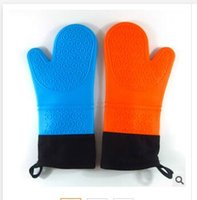 Wholesale New Silicone Microwave oven Mitts Thicking Insulation Cotton Kitchen Cooking Baking Gloves Heat resistant Bakeware Mitts Kitchen Accessories