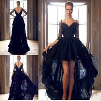 Cheap 2016 High Low Arabic Prom Dresses Gorgeous Black Lace V Neck Half Sleeve Evening Dress Floor Length Vestidos Sequined Backless Vestido