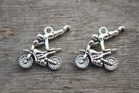 antique motorcycles - 12pcs Motorcycle Charms Antique Tibetan Silver Tone Dirtbike charm pendants X24mm