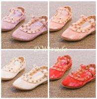 Cheap 2015 fashion shoes New Girls Rock Stud Shoes Wedge Sandals Princess Patent Leather Shoes Kids Low-heeled Flats DHL free MOQ:5pcs SVS0014#