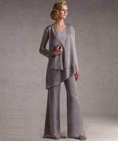Cheap Gray Chiffon Mother Bride Dresses 2015 Best Formal mother bride pants suit
