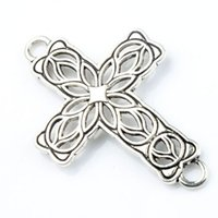 Connectors bracelet connectors - 27 x42mm Tibetan Silver Open Flower Cross Charms Hole Connector Fit Infinity Leather Bracelets Jewelry DIY L1209