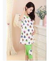 Wholesale HOT Pregnant women pajamas short sleeved summer suit women knitting cotton cartoon pregnant women pajamas with short sleeves