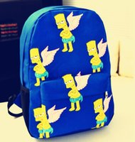 Unisex bart cell phone - 5 Colors Unisex Simpson Bart Man Printing Cartoon Canvas Backpack Boy s Girls Travel Casual School Shoulder Bags Preppy Style
