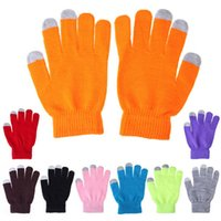 Wholesale Women Men Winter Touch Screen Gloves Soft Cotton Knitted Smart Warmer Gloves For Iphone Samsung All Phones Ipad Tablet PC colors