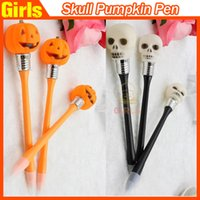 Wholesale Halloween with lamp ballpoint pen skull Pumpkin LED Light pen Creative ball point pen sold by Girls