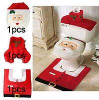 beige bathroom - 2015 Hot Fancy Santa Toilet Seat Cover and Rug Bathroom Set Contour Rug Christmas Decorations For Natal Navidad Decoracion