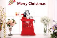 best canvas bag - 2016 Best Large Canvas Monogrammable Santa Claus Drawstring Bag With Reindeers Monogramable Christmas Gifts Sack Bags
