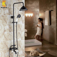 Metal antique brass shower set - black Antique Brass Rotatable Lifting Shower Set Faucet Dual Handles Bathroom Shower Mixer Tap with Handshower