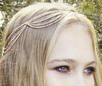 Wholesale New Fashion Gothic Women Ladies Crown Head Chain Headpiece Headdress Headwrap Hair Chain Jewelry Retail sale C0038
