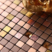 aluminum bronze sheet - Yi Ding Metal mosaic tile aluminum sheet metal tea diamond paste continental interior background brushed bronze