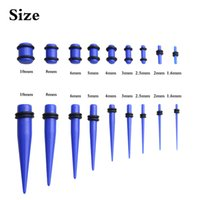 Wholesale Cheap Ear Stretching - 14g-00g acrylic dark blue ear taper and plug stretching kits body piercing jewelry cheap price wholesale ear gauges set body jewelry