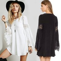Casual Dresses bell clothing line - 2015 fashion women Novelty Runway dress White Black Long Sleeve Lace Loose A line Casual plus size Dress Summer dress women Clothes