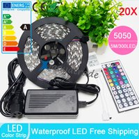 Wholesale 20PCS NEW waterproof RGB Led Strip Flexible LED Light M leds SMD Key Remote Controller V A Power Adapter By DHL